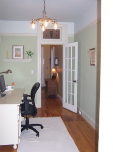 Victorian Office Renovation with Stained Glass Transom