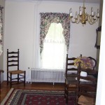 Dining room before move in - note the bright brass fixture on the swag chain.