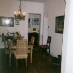 Dining room before paint and refinished floors.
