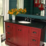 Vanity constructed from antique floor boards - finish is a 7 step custom process to create an aged look.