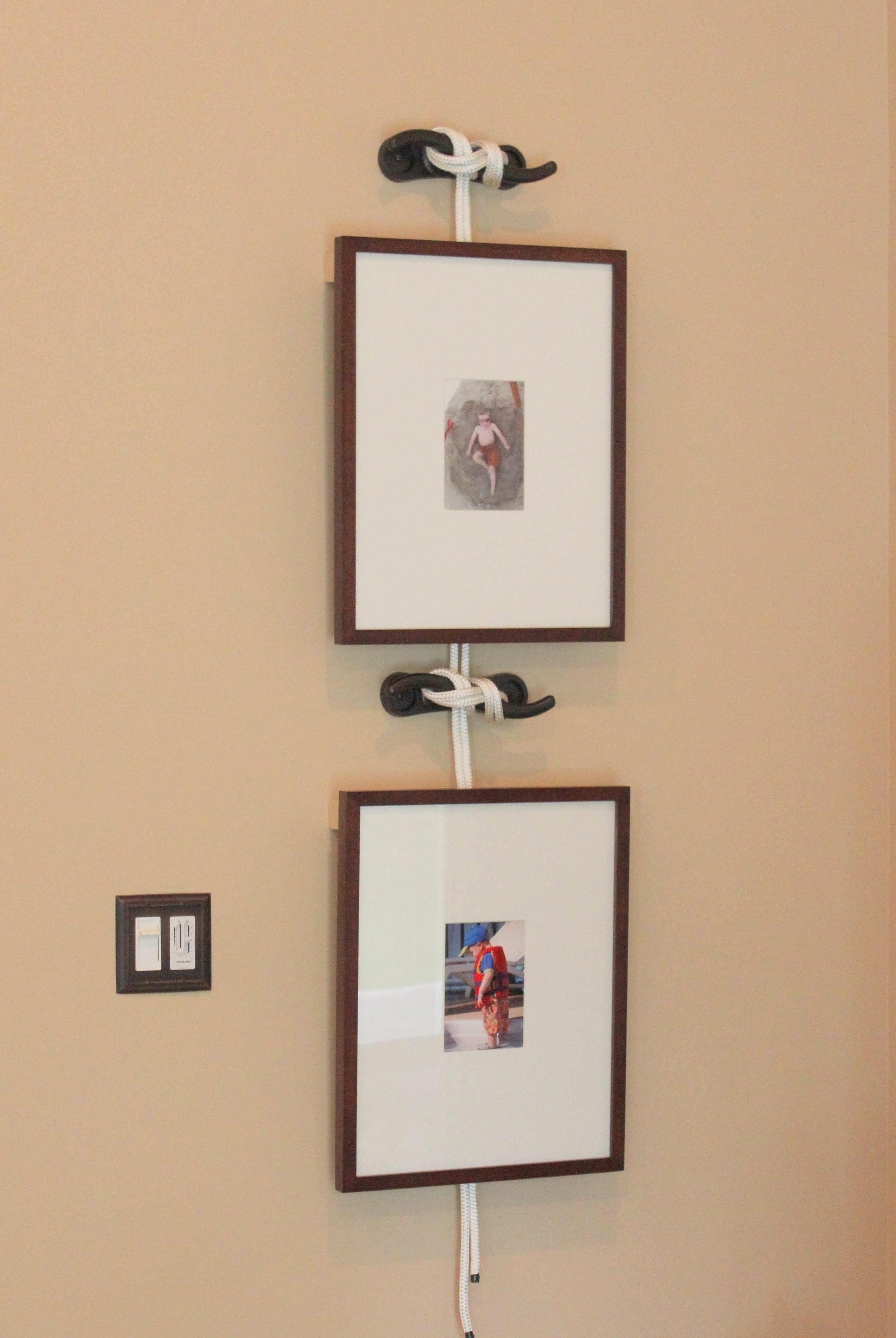 Frames hung by ship cleats sprayed with oil rubbed bronze paint to frames hung by ship cleats sprayed with oil rubbed bronze paint to compliment the new switch jeuxipadfo Image collections