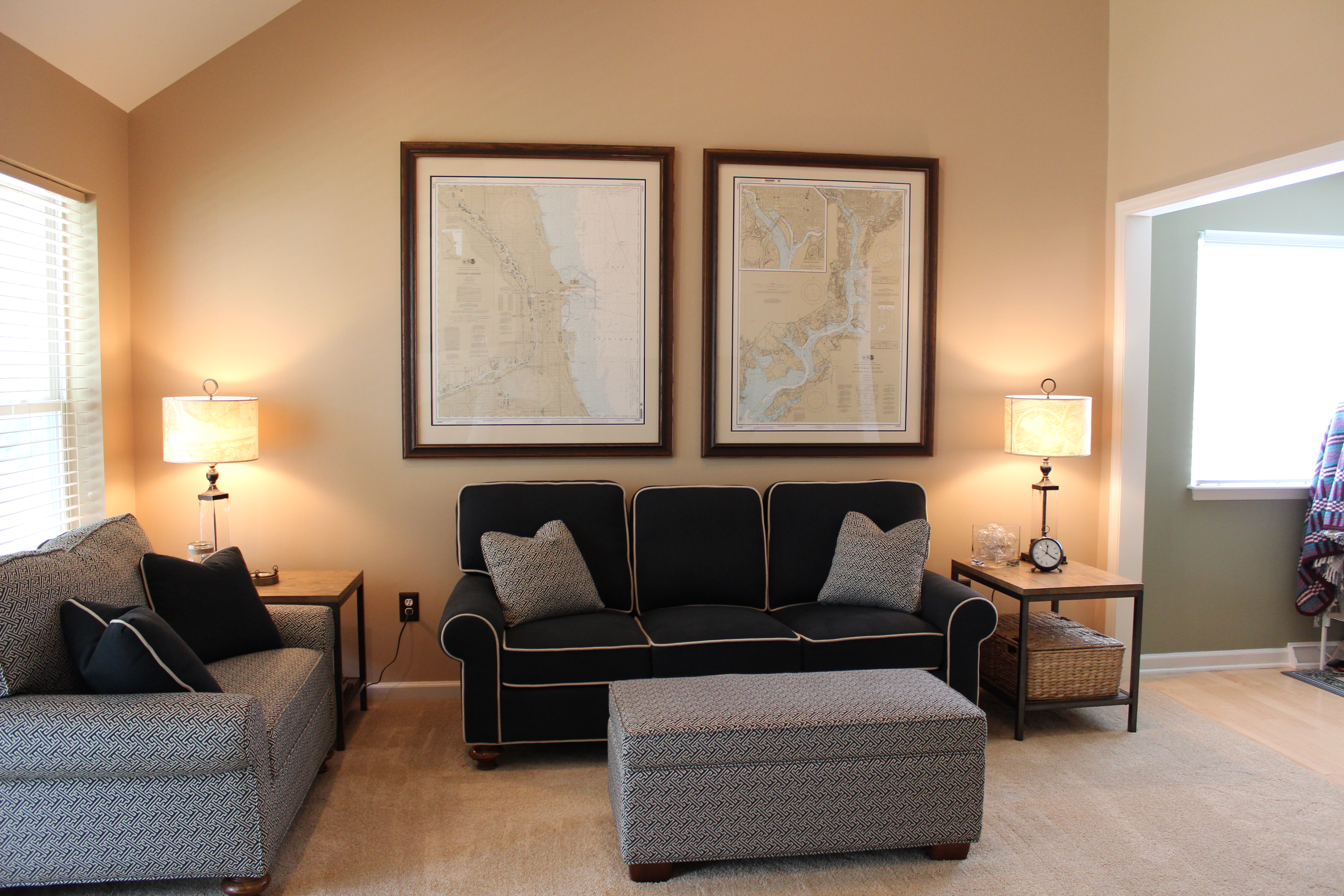 ... Fabulous Nautical Charts Make This Room Truly Custom For Nautical  Living Room ...
